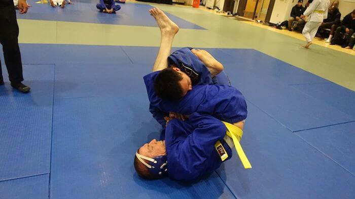 Me going for an armbar and Richard defends.