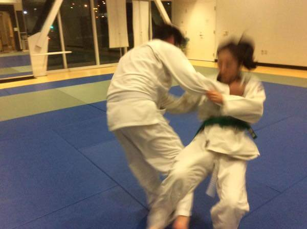 Jessica getting thrown with the osoto gari throw